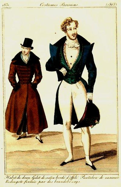 1831 Journal des Dames et des Modes image Chapeau de Bras or Bicorne hat.